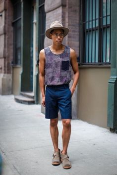 Add a little class to your tank top with desert boots and a sharp hat