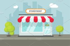 Store Front of Shop on Street Vector by vladwel on @creativemarket