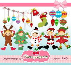Christmas Happy Kids digital clipart -Personal and Commercial Use - paper crafts, card making, scrapbooking on Etsy, $4.50