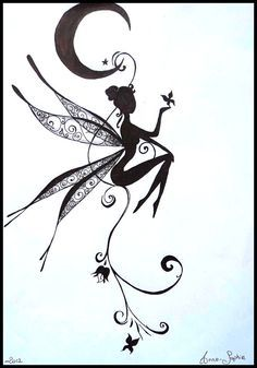 Fée Lunaire : tattoo, tatouage, dessin, crayon, drawing