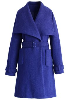 Catch Up with Indigo Blue Belted Coat - Tops - Retro, Indie and Unique Fashion