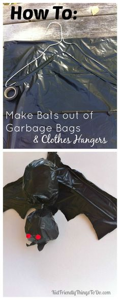 Making A Bat out of Clothes Hangers and Garbage Bags Halloween Craft. We just love these bats hanging in our trees! Cute yard decoration! - http://KidFriendlyThingsToDo.com