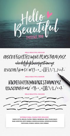 Hello Beautiful Font Duo + Swashes by Nicky Laatz. Modern script font with a hipster feel.