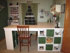 DIY Desk/ Craft table made with 3 Ikea bookcases Diy Crafts Desk, Craft Room Desk, Craft Room Storage, Diy Desk, Home Crafts, Craft Rooms, Desk Storage, Craft Organization, Storage Ideas