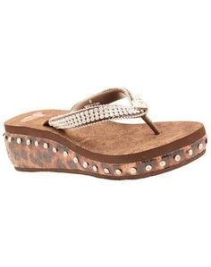 Justin Elizabeth Flip Flops - Brown With Rhinestones