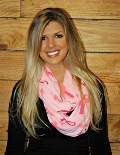 Light Pink Breast Cancer Ribbon Scarf! Show your Support for Breast Cancer with this Cute Infinity Scarf!