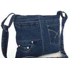 Sac bandoulière en Jean, sac en jean recyclé, sac d'école Jean, sac cabas bleu foncé, croix sur le sac de poitrine avec fermeture à glissière haut, sac à main en Jean côté, boutique Canada