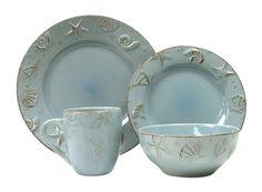 AmazonSmile: Thomson Pottery 16-pc. Cape Cod Set AQUA BLUE: Dinnerware Sets: Kitchen & Dining