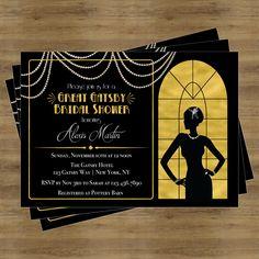 Great Gatsby Invitation; Gatsby Bridal Shower Invitation; Black and Gold Bridal…