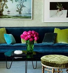 Frank Roop Design Interiors-there is a depth of colour of blues + greens when done in velvet, blue + green living room Room Inspiration, Design Inspiration, Sofa Deals, Best Leather Sofa, Colorful Interiors, Design Interiors, Design Hotel, Sofa Colors, Beautiful Interior Design