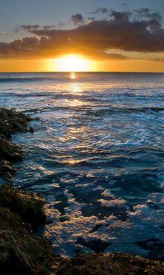 Sunrise at the cliffs, NH coast.