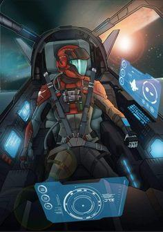 Space pilot, looks Halo-inspired for sure! Fantasy Character Design, Character Concept, Concept Art, Concept Ships, Steven Universe Pilot, Cyberpunk, Gi Joe, Spaceship Interior, Warhammer 40k