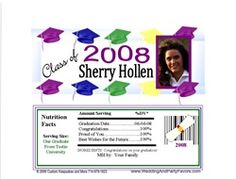 Graduation Candy Bar wrapper with colored graduation hats