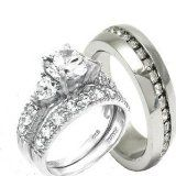 His & Hers Heart 3 Pieces, 925 Sterling Silver & Stainless Steel Engagement Wedding Ring Set.