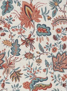 Red Teal Floral Home Decor Fabric - Blue Floral Upholstery Fabric - Red Teal Floral Pleated Curtains - Custom Roman Shade - Teal Red Pillows Floral Upholstery Fabric, Chintz Fabric, Floral Fabric, French General Fabric, Custom Roman Shades, Art Chinois, Pleated Curtains, Art Japonais, Red And Teal