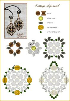 Earring schema with superduos ~ Seed Bead Tutorials