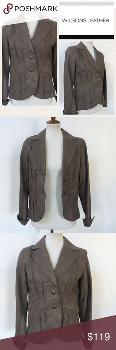 Wilson Brown Leather Jacket / Blazer EUC.  Beautiful ladies light mocha brown colored leather jacket or blazer.  Pictures do not due this jacket justice!  Stylish and practical for the transitioning seasons. Measurements are as follows and approximate, taken while garment was laying flat.  Underarm to underarm 17 inches. Shoulder to hem 24 inches. Logo is internet stock photo.  All other photos are of actual jacket. Please note close-up photo. Jacket is a light mocha brown, not a dark brown…