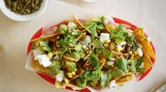nachos with feta and chipotle sauce.