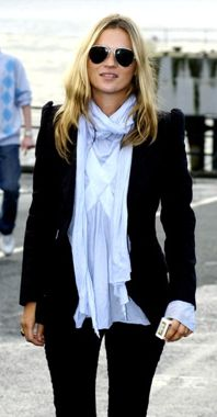 Kate Moss. Love this color blue with the black