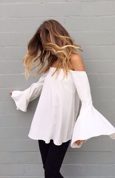 off the shoulder white top with long sleeves