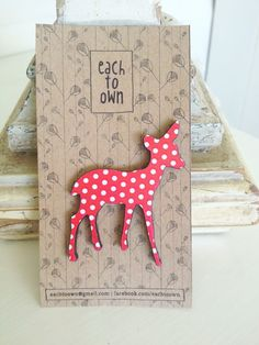 Red Xmas Dotty Deer Brooch - Paper Overlay Wooden Laser Cut - Christmas Brooch. $19.00, via Etsy.