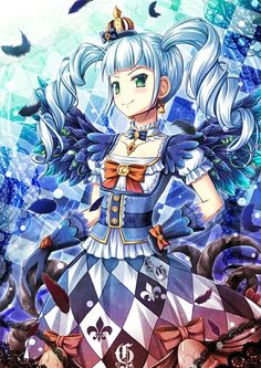 Anime picture 765x1080 with akashio (loli ace) long hair tall image blush looking at viewer smile twintails green eyes blue hair drill hair girl dress bow gloves wings earrings feather (feathers) crown