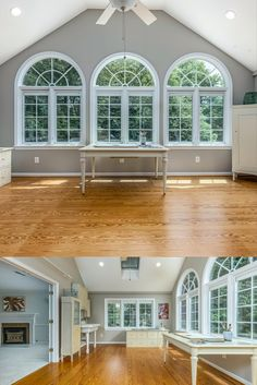 Unique art room addition with skylights, Palladian windows, vaulted ceiling, hardwood flooring and a sink for washing brushes. Listed for $1,150,000 in Vienna, VA by The Casey Samson Team is a Wall Street Journal Top Team in Northern Virginia.