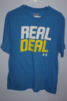 Under Armour Medium Loose Blue Real Deal T Shirt Heat Gear Unisex #underarmour #GraphicTee