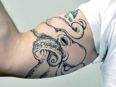 Men Bicep Marvelous Outline Ink Sea Creature Octopus Tattoo