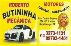 ROBERTO BUTININHA MECÂNICA DE MOTORES CÂMBIO E SUSPENSÃO
