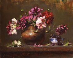 Robert Johnson, Dahlias in a Dutch Pot, oil, 16 x 20.