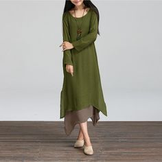 New Autumn Cotton Linen Vintage Dress 2017 Women O-Neck Long Sleeve Casual Loose Boho Long Dresses Vestidos Plus Size S-5XL - ArmyGreen, XL