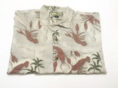 Tommy Bahama L Hawaiian Camp Shirt Lobster Print Silk Short Sleeve Large #TommyBahama #Hawaiian
