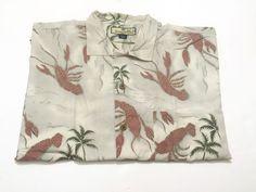 Tommy Bahama L Hawaiian Camp Shirt Lobster Print Silk Short Sleeve Large #TommyBahama #Hawaiian