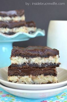 Chocolate Coconut Bars - chocolate bars filled with a coconut filling and topped with chocolate ganache ,