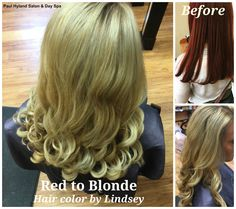 What a transformation! Lindsey made a huge change in her client's hair color for summer from red to pretty blonde. Lindsey applied Olaplex during the color process to protect the integrity of her client's hair and prevent damage/breakage.
