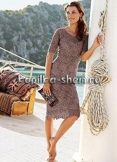 Схема мотива для красивого платья крючком