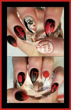 """""""IT"""" Nails  Pennywise the clown from the 2017 movie IT Follow Taryns.nails on Instagram!! Halloween Acrylic Nails, Halloween Nail Designs, Best Acrylic Nails, Love Nails, Pretty Nails, Scary Nails, Unicorn Nails, Colorful Nail Designs, Nail Art Diy"""