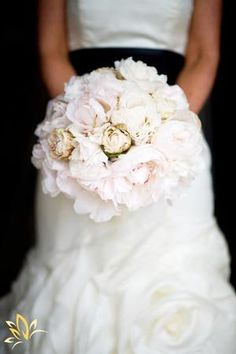 Beautiful blush pink bridal bouquet - looks amazing with this bride's gown and black sash!  Photo by Scott Hopkins Photography.
