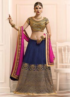 Buy Delectable Banglori Silk Navy Blue A Line Lehenga Choli, Online #lehenga #designerlehenga #bridallehenga #festivecollection
