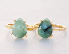 These stunning raw emeralds. | 25 Gemstone Rings That Prove Diamonds Aren't A Girl's Best Friend