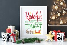 Rudolph Christmas Printable by CaffeineandSaltwater on Etsy