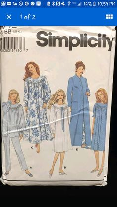 44b087c909 Size Misses  Nightgown Pattern - Round Yoke Long Nightgown Pattern - Women s  Robe Pattern - Vintage Sewing Pattern - Simplicity 8712