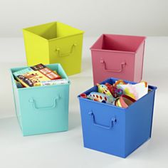 I Could've Bin a Cube Bin Use with Flat top bookcases for a pop of color and these bins work nicely with the candy dot rug.