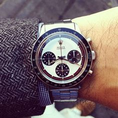 This one is on loan for a shoot. But how could I not put it on, at least for one morning? Rolex Paul Newman Daytona Reference 6241. Epic stuff.