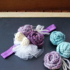 Rustic Flower Girl Headband, Rosette Rose Toddler Baby Headband, Crochet Flower Floral Hair Piece Fascinator Accessory, Statement Headpiece @ Yehsproduction.etsy.com