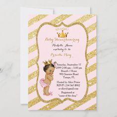 Invitación CHICA Baby Shower, tiras doradas, oro rosa negro v