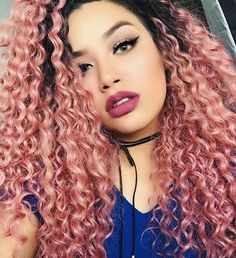 33 Ideas hair curly color pink for 2019 Dyed Curly Hair, Colored Curly Hair, Curly Hair Styles, Natural Hair Styles, Blond Ombre, Ombre Hair, Blonde Pink, Black Hair Extensions, Curly Lace Front Wigs