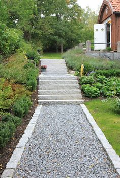 pathway for in between garden beds Garden Paving, Garden Steps, Garden Paths, Landscape Design, Garden Design, Concrete Walkway, Sloped Garden, Unique Gardens, Dream Garden