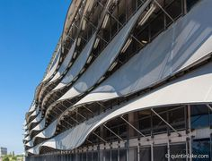The Wave Car park, Cardiff Bay, Wales. Tensile fabric facade by Architect Scott Brownrigg Kinetic Architecture, Organic Architecture, Architecture Drawings, Facade Architecture, Membrane Structure, Shade Structure, Shop Facade, Building Facade, Cardiff Bay